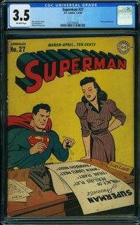 Superman #27 (DC, 1944) CGC VG- 3.5 OFF-WHITE pages