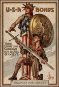 "Movie Posters:War, World War I Propaganda (U.S. Government Printing Office, 1917).Third Liberty Loan Poster (20"" X 30"") ""Weapons for Liberty.""..."