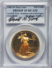 1986-W G$50 One-Ounce Gold Eagle PR0 Ultra Cameo NGC. ...(PCGS# 9807)