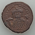 Ancients:Byzantine, Ancients: Maurice Tiberius (AD 582-602). AE follis (11.32 gm).Choice VF....