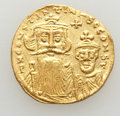 Ancients:Byzantine, Ancients: Constans II (AD 641-668) and Constantine IV (AD 654-685).AV solidus (4.29 gm). AU, lightly brushed, clipped....