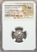 Ancients:Greek, Ancients: MACEDONIAN KINGDOM. Alexander III the Great (336-323 BC).AR drachm. NGC AU, scuff, brushed....