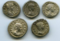Ancients:Ancient Lots , Ancients: GROUP LOTS. Roman Imperial. Roman Empresses (AD 2nd-3rdcenturies). Lot of five (5) AR denarii. Choice VF-AboutXF.... (Total: 5 coins)