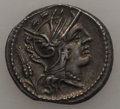 Ancients:Roman Republic, Ancients: L. Julius (ca. 101 BC). AR denarius (3.97 gm). Choice XF,scratches. ...
