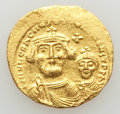 Ancients:Byzantine, Ancients: Heraclius (AD 610-641) and Heraclius Constantine (AD613-641). AV solidus (4.47 gm). AU, flan flaw. ...