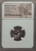 Ancients:Roman Republic, Ancients: T. Carisius (46 BC). AR denarius (3.53 gm). NGC Choice VF4/5 - 3/5....