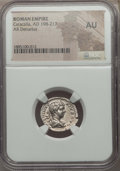Ancients:Roman Imperial, Ancients: Caracalla (AD 198-217). AR denarius. NGC AU. ...