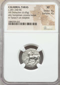 Ancients:Greek, Ancients: CALABRIA. Tarentum. Ca. 272-240 BC. AR stater or didrachm(6.69 gm). NGC XF 4/5 - 4/5....