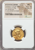 Ancients:Byzantine, Ancients: Constans II (AD 641-668). AV solidus (4.40 gm). NGC MS4/5 - 4/5. ...