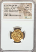 Ancients:Byzantine, Ancients: Constans II (AD 641-668) and Constantine IV (AD 654-685).AV solidus (4.36 gm). NGC MS 5/5 - 4/5, clipped....