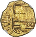 Colombia, Colombia: Philip IV gold Cob 2 Escudos ND (1653-1660)-R MS62NGC,...
