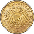 German States:Lübeck, German States: Lübeck. Republic gold 10 Mark 1905-A MS66+ NGC,...