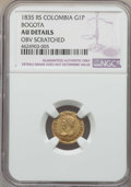 Colombia, Colombia: Republic gold Peso 1835-RS AU Details (Obverse Scratched)NGC,...