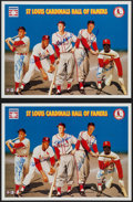 Baseball Collectibles:Photos, St. Louis Cardinals Hall of Famers Multi Signed Prints (Lot of 2)....