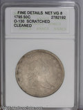 Early Half Dollars: , 1795 50C Fine Details--Scratched, Cleaned--ANACS. Net VG8. O-130,Low R.5. A moderate scratch is visible in the left obvers...