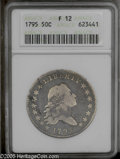 Early Half Dollars: , 1795 50C 2 Leaves Fine 12 ANACS. O-116, R.4. An evenly wornlavender-gray representative that retains some hair and plumage...