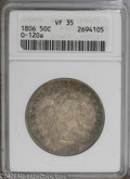 Early Half Dollars: , 1806 50C Pointed 6, Stem VF35 ANACS. O-120a, R.3. An early diestate with the internal cud on the reverse shield in its ear...