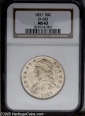 Bust Half Dollars: , 1831 50C MS63 NGC. O-103, R.1. Lustrous and sharply struck withminimal abrasions. The obverse displays light peach-gold co...