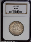 Seated Half Dollars: , 1861 50C MS63 NGC. This is a relatively plentiful date from thebeginning of the Civil War (nearly three million pieces min...