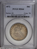 Seated Half Dollars: , 1872 50C MS64 PCGS. A difficult coin to locate in near-Gemcondition and higher, this example shows very few abrasions and ...