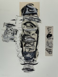 Fine Art - Work on Paper:Print, Michael Singer (b. 1945). 7 Moon Ritual Series, 1985.Lithograph in colors with collage on heavy wove paper. 49-1/2 x37...