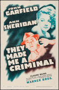"Movie Posters:Crime, They Made Me a Criminal (Warner Brothers, R-1944). One Sheet (27"" X41""). Crime.. ..."