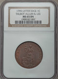 Colonials, 1795 CENT Talbot, Allum, & Lee Cent MS65 Brown NGC. NGC Census: (6/0). PCGS Population: (11/1). ...