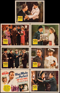 "Blue, White and Perfect (20th Century Fox, 1942). Title Lobby Card & Lobby Cards (6) (11"" X 14""). Mystery..."