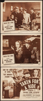 "Brenda Starr, Reporter (Columbia, 1945). Title Lobby Card & Lobby Cards (2) (11"" X 14"") Chapter 3 -- ""..."