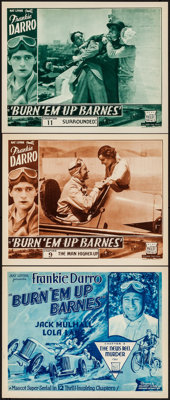 "Burn 'Em Up Barnes (Mascot, 1934). Title Lobby Card & Lobby Cards (2) (11"" X 14"") Chapter 2 -- ""The N..."