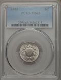 Shield Nickels: , 1872 5C MS65 PCGS. PCGS Population: (49/32). NGC Census: (37/14). CDN: $1,200 Whsle. Bid for problem-free NGC/PCGS MS65. Mi...
