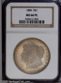 Morgan Dollars: , 1886 $1 MS66 Prooflike NGC. Slightly soft over the centers, butboldly struck overall, this Prooflike Premium Gem exhibits...