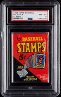 Baseball Cards:Unopened Packs/Display Boxes, 1969 Topps Stamps Baseball Unopened Wax Pack PSA NM-MT 8....
