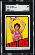 Basketball Cards:Singles (1970-1979), 1972 Topps Julius Erving (Blank Back) #195 SGC Authentic....
