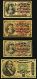 Fractional Currency:Group Lots, Fractionals 10¢ (3); 50¢ Very Good.. ... (Total: 4 notes)