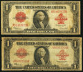 Large Size:Legal Tender Notes, Fr. 40 $1 1923 Legal Tenders Two Examples Very Good-Fine.. ...(Total: 2 notes)