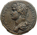 Ancients:Roman Imperial, Ancients: Hadrian (AD 117-138). Orichalcum sestertius (30mm, 25.22 gm, 6h). NGC XF 5/5 - 3/5, Fine Style....