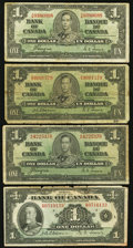 Canadian Currency: , BC-1 $1 1935. BC-21a $1 1937. BC-21d $1 1937, Two Examples.. ...(Total: 4 notes)