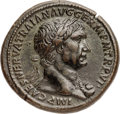 Ancients:Roman Imperial, Ancients: Trajan (AD 98-117). Orichalcum sestertius (34mm, 27.51 gm, 6h). NGC Choice XF 5/5 - 4/5, Fine Style....