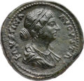 Ancients:Roman Imperial, Ancients: Faustina Jr. (Augusta, AD 147-175/6). Orichalcum sestertius (33mm, 28.13 gm, 6h). NGC AU 5/5 - 3/5, smoothing....