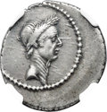 Ancients:Roman Republic, Ancients: Divus Julius Caesar (died 44 BC). AR denarius (20mm, 3.81 gm, 7h). NGC XF 4/5 - 5/5....