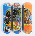 Fine Art - Work on Paper:Print, After Jean-Michel Basquiat X The Skateroom. Triptych Skull (setof three), 2014. Screenprint in colors on skate deck. 31...(Total: 3 Items)