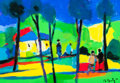 Paintings, Marcel Mouly (French, 1918-2008). Les Huttes Aux Toits Bleus, 2006. Oil on canvas. 18 x 25-1/2 inches (45.7 x 64.8 cm). ...