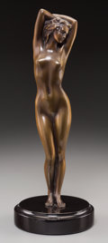 Sculpture, French School (20th Century). Standing Nude. Bronze with brown patina. 12-1/2 inches (31.8 cm) high on a 1-1/2 inches (3...
