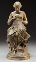 , After Chauncey Bradley Ives (American). Mending the Nets.Bronze with brown patina. 14-1/2 inches (36.8 cm) high. Stampe...