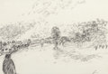 Fine Art - Work on Paper:Drawing, Jean Fusaro (French, b. 1925). Landscape. Pencil on paper.11-3/4 x 18-3/8 inches (29.8 x 46.7 cm) (sight). Signed lower...
