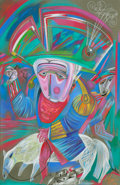 Fine Art - Work on Paper:Drawing, Mihail Chemiakin (Russian, b. 1943). Untitled (Magician riding atapir). Pastel on paper. 39-1/4 x 25-1/2 inches (99.7 x...