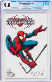 Ultimate Spider-Man #104 White Variant Cover (Marvel, 2007) CGC NM/MT 9.8 White pages