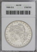 Morgan Dollars: , 1896-S $1 AU50 ANACS. The luster is substantial but cannot penetrate the open fields. The centers show only faint wear, bu...