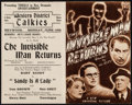 """Movie Posters:Horror, The Invisible Man Returns (Universal, 1940). Australian Herald (Unfolded: 5"""" X 8"""", Folded: 8"""" X 10.25). Horror.. ..."""
